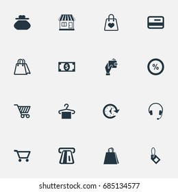 Vector Illustration Set Of Simple Money Icons. Elements Package, Paper Bag, New Item And Other Synonyms Cart, Banking And Time.