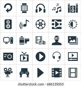 Vector Illustration Set Of Simple Multi Icons. Elements Begin, Negative Roll, Movie Streaming And Other Synonyms Hand, Film And Smart.