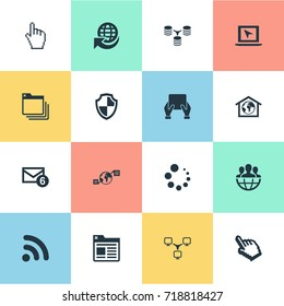 Vector Illustration Set Of Simple Network Icons. Elements Circle Loader, Defense, Wifi And Other Synonyms Defense, Computer And Folder.
