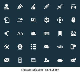 Vector Illustration Set Of Simple Newspaper Icons. Elements Questionaire, Notepad, Internet Access And Other Synonyms Space, Friend And Tag.