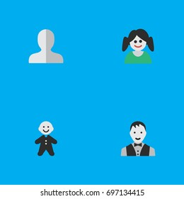 Vector Illustration Set Of Simple Profile Icons. Elements Male, Female, Guy And Other Synonyms Man, Woman And Shape.