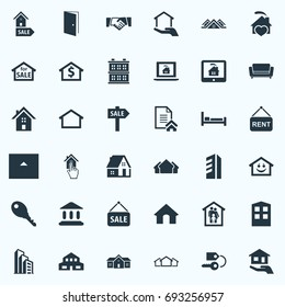 Vector Illustration Set Of Simple Property Icons. Elements Family In House, Key, Barn And Other Synonyms Offer, 3 And Three.