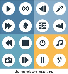 Vector Illustration Set Of Simple Radio Icons. Elements Play, Loudspeaker, Singing And Other Synonyms Shout, Audio And Antenna.