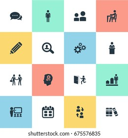 Vector Illustration Set Of Simple Resources Icons. Elements Work Man, Date Block, Interaction And Other Synonyms Employee, Presentation And Find.