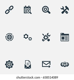 Vector Illustration Set Of Simple Review Icons. Elements Construction, Detail, Mechanism And Other Synonyms International, Chain And Screwdriver.