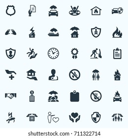 Vector Illustration Set Of Simple Safeguard Icons. Elements Heart In Hand, Building, Identity Card Synonyms Partnership, Care And Home.