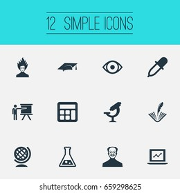 Vector Illustration Set Of Simple Science Icons. Elements Conference, Flask, Poetry And Other Synonyms Professor, Calculator And Counting.