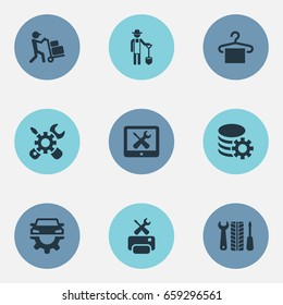 Vector Illustration Set Of Simple Service Icons. Elements Car Workshop, Hanger, Engineering And Other Synonyms Farmer, Service And Workshop.
