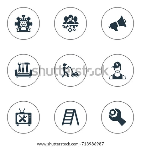 vector illustration set simple service icons stock vector royalty