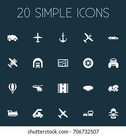 Vector Illustration Set Of Simple Shipment Icons. Elements Steam Train, Jet, Cement Machine And Other Synonyms Tuning, Aicraft And Transport.
