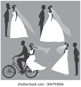 Vector illustration of a set of simple silhouette figures of beautiful brides and grooms for your designs