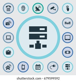 Vector Illustration Set Of Simple Smart Icons. Elements Telephone, Interactive Display, Call And Other Synonyms Broadcasting, Smart And Datacenter.