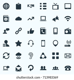 Vector Illustration Set Of Simple Social Icons. Elements Smartphone, World, Cv And Other Synonyms Position, Telephone And Cellphone.