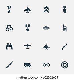 Vector Illustration Set Of Simple Terror Icons. Elements Binoculars, Heavy Weapon, Manacles And Other Synonyms Aviation, Machine And Telescope.