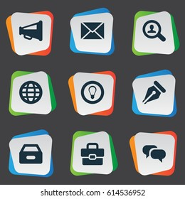 Vector Illustration Set Of Simple Trade Icons. Elements Chatting, Megaphone, Dossier And Other Synonyms Net, Magnifier And Bulb.