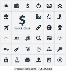 Vector Illustration Set Of Simple Trade Icons. Elements Purse, Client, Firm And Other Synonyms Wireless, Database And Purse.