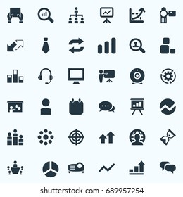 Vector Illustration Set Of Simple Training Icons. Elements Tablet, Search, Magnifier And Other Synonyms Data, Watch And Construction.