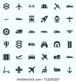 Vector Illustration Set Of Simple Transport Icons. Elements Airliner, Kids Activity, Hatchback And Other Synonyms Truck, Road And Balloon.