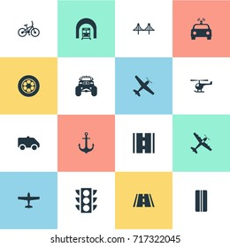Vector Illustration Set Of Simple Transport Icons. Elements Race, Road, Highway And Other Synonyms Race, Van And Ship.
