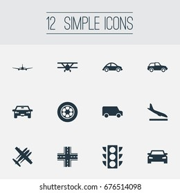 Vector Illustration Set Of Simple Transportation Icons. Elements Plane, Motor, Automotive And Other Synonyms Trailer, Light And Tire.