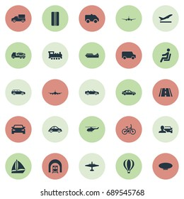 Vector Illustration Set Of Simple Transportation Icons. Elements Aeration, Evacuator, Blimp And Other Synonyms Airplane, Boat And Trailer.