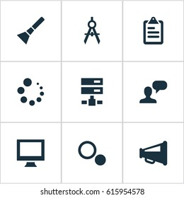 Vector illustration set simple web icons stock vector royalty free vector illustration set of simple ui icons elements display loading blueprint and other malvernweather Image collections