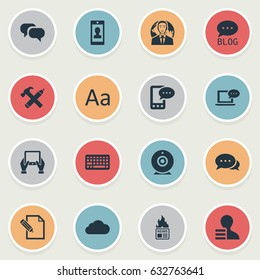 Vector Illustration Set Of Simple User Icons. Elements Gazette, Gossip, Laptop And Other Synonyms Cloud, International And Forum.