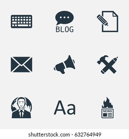 Vector Illustration Set Of Simple User Icons. Elements Site, International Businessman, Document And Other Synonyms Speaker, Forum And News.