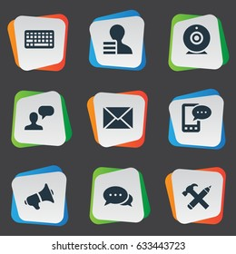 Vector Illustration Set Of Simple User Icons. Elements Broadcast, E-Letter, Repair And Other Synonyms Profit, Gain And Repair.