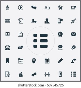 Vector Illustration Set Of Simple User Icons. Elements Site, Reminder, Cedilla And Other Synonyms Camera, Calendar And Shuttle.