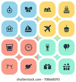 Vector Illustration Set Of Simple Vacation Icons. Elements Glass, Boat, Christmas Ball And Other Synonyms Airplane, Yacht And Jingle.