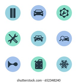 Vector Illustration Set Of Simple Vehicle Icons. Elements Car, Wheel, Siren And Other Synonyms Search, Servicing And Snowflake.