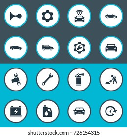 Vector Illustration Set Of Simple Vehicle Icons. Elements Spanner, Siren, Watch And Other Synonyms Auto, Alert And Vehicle.