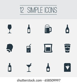 Vector Illustration Set Of Simple Water Icons. Elements Cocktail, Cola, Cognac And Other Synonyms Club, Hydration And Pub.