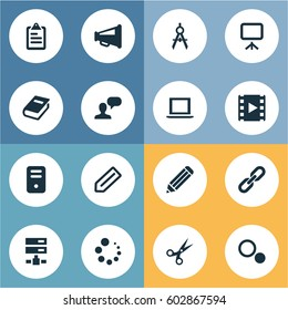 Vector illustration set simple design icons vectores en stock vector illustration set of simple web icons elements system unit chain tag and malvernweather Choice Image