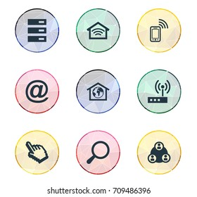 Vector Illustration Set Of Simple Web Icons. Elements Mobile Contact, Wireless Connection, Router And Other Synonyms Phone, Center And Data.