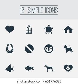 Vector Illustration Set Of Simple Wild Icons. Elements Bird Prison, Puppy, Ocean Fish And Other Synonyms Heart, Wildlife And Kennel.