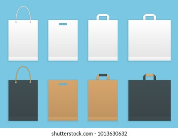 Vector illustration set of six paper shopping or grocery bags. Paper shopping bags packaging.