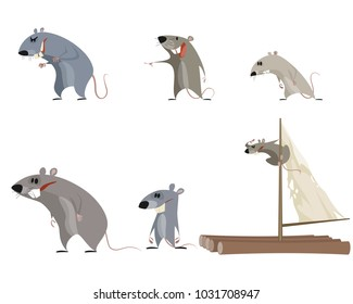 Vector illustration of a set of six rodents