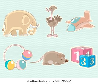 Vector illustration of a set of six toys
