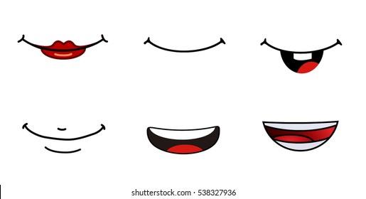 Vector illustration of a set smiling cartoon.Set smile.