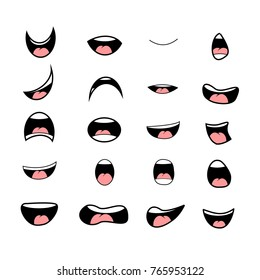 Vector illustration of a set smiling cartoon - happy mouth on white background