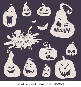 Vector illustration of set smiling pumpkins for happy Halloween. Cartoon pumpkins silhouette icon badges, happy Halloween logos emblems and labels on dark background