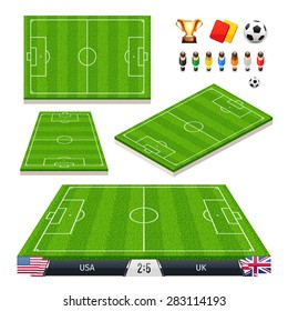 Vector Illustration of a set of Soccer Fields in Four Different Positions with Icons for Your Sports Apps or other Projects. Isolated on white background.