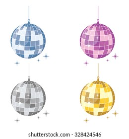 Vector illustration set of sparkling disco balls blue, purple, gold and silver. Flat icon.