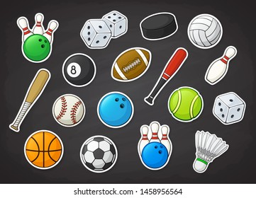 Vector illustration set. Sport equipment. Football, soccer, basketball, volleyball, baseball, tennis, badminton, bowling and billiard balls and bat, hockey puck and bowling pin. Stickers with contour