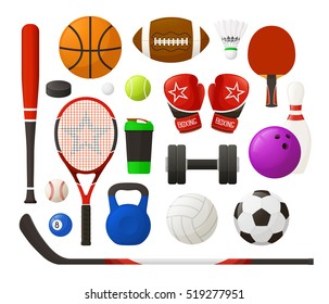 Set of sport equipment in simple design. Collection of sport inventory. 954f8999d