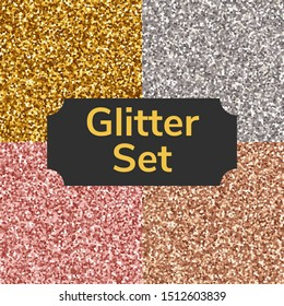 Vector illustration. Set square color glitter texture pattern. Gold, silver, pink, bronze.