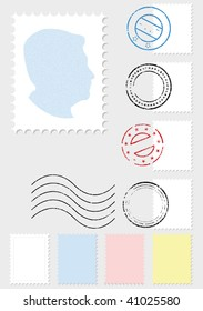 A vector illustration set of stamps and postmarks. All objects and details are isolated. Colors and gray background color are easy to adjust/customize.