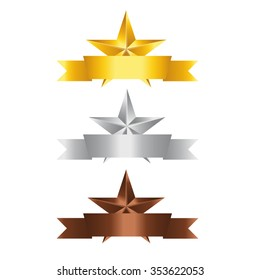 Vector illustration, Set of Stars with ribbon. Gold Star, Silver Star and copper Star  with space for your text.